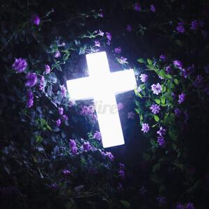 "Fabulous Solar Powered LED Cross 14"" In Loving Memory Lawn Memorial Decoration"
