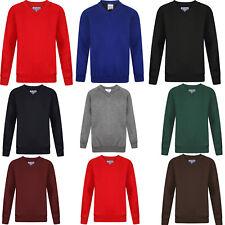 Kids Boys Girls Unisex School Sweatshirt Uniform V Neck Jumper Plain Pull Over