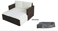Rattan Outdoor Garden Sofa Furniture Love Bed Patio Sun bed 2 seater Brown W/cov
