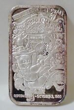 1993 LA COUNTY FAIR .999 SILVER ART COLLECTABLE BAR 1 TROY OZ Serial Number # 2