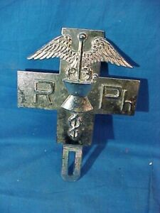 Vintage REGISTERED PHARMACIST Automobile Chrome LICENSE PLATE TOPPER