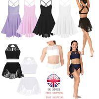 UK Girls Lyrical Ballet Dance Dress Gymnastics Straps Leotard Tutu Skirt Costume
