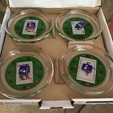 New listing 4 Vintage Luminarc 4� Playing Card Glass Coasters France Nib
