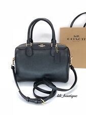 Coach F32203 Crossgrain Leather Mini Bennett Satchel Bag Black