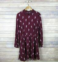 H&M Women's Long Sleeve Collared Hummingbird Print Dress SIZE 10 Purple NEW