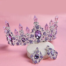 7cm High Purple Crystal Wedding Party Pageant Prom Tiara Crown Earrings Set