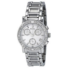 Bulova 96R19 Women's Dress Chronograph Silver Dial Diamond Studded Bezel Watch
