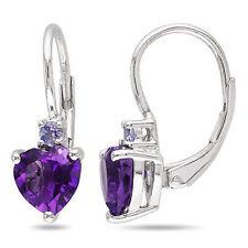 2 2/5 CT TGW Amethyst-Africa Tanzanite heart Love LeverBack Earrings Silver
