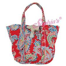 """Red Paisley Print Tote Bag purse hand beach fit 18"""" American Girl Doll"""