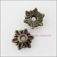 60 New Connectors Tiny Flower Antiqued Bronze Tone End Bead Caps 8mm