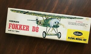 1960 Paul K Guillows Fokker D-VIII Flying Scale Model Airplane Kit NI Opened Box