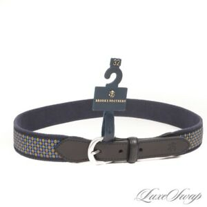 NWT Brooks Brothers Navy Canvas Ribbon Mount Yellow Neat Floret Weekend Belt 32