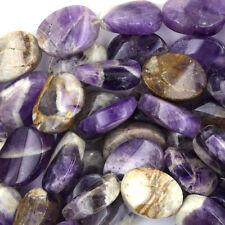 "18mm amethyst flat oval twist beads 15"" strand"