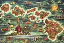 Dole Map of the Hawaiian Islands, Hawaii, Oahu, Maui, etc. -  State Map Postcard