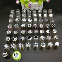 57x Russian Tulip Flower Icing Piping Nozzles Cake Decoration Tips Baking Tool