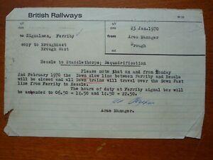 British Railways typed memo re. dequadrification - Hessle - Staddlethorpe (1970)