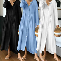 Womens V Neck Pleated Button Shirt Dress Ladies Casual Long Sleeve Long Dresses