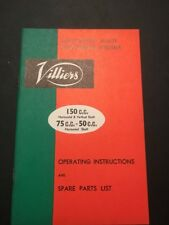 Villiers 150cc 75cc 50cc Lightweight 4 Stroke Engine Operating & Spares Handbook