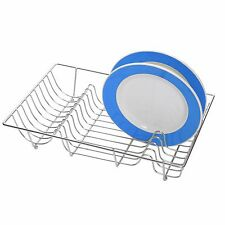 Large Chrome Plated Wire Dish Holder Sink Plate Cup Rack Drying Stand Drainer
