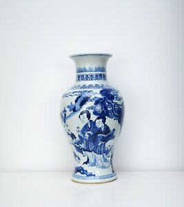A Large Blue and White Baluster Vase