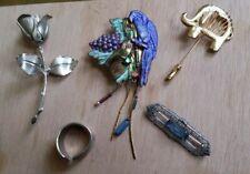 Vintage & Modern Brooch & Pins Lot Of 4 W/ Modernist Silver Plate Ring
