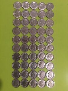 90% Silver Franklin Dimes 1 Roll of 50 Coins 1946-1964 Nice Condition