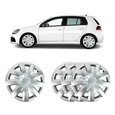 "4 X 15"" SOLID SILVER UNBREAKABLE WHEEL TRIM COVER FITS VOLKSWAGEN VW GOLF, CADDY"