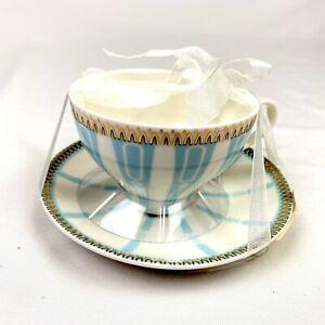 NEW Meritage Ceramic Tea Cup & Saucer Set Blue Stripes Metallic Gold Accents