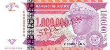 Zaire 1000000 Nouveaux Zaires 1996 Specimen Unc pn 79s