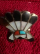 SW HEADDRESS SUNFACE RING, SIZE 4.75 CORAL, TURQUOISE, MOTHER OF PEARL, ONYX