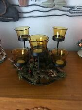 COUNTRY CHRISTMAS Black Metal Ring Votive Candleholder Candelabra