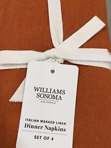 NWT! Williams-Sonoma Italian Washed Linen Napkins/Set of 4/Pumpkin Orange/$49.95
