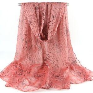 Coral Rose & Polka Dot Print Women Face Cover Wrap Silk Chiffon Scarf