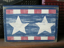 Patriotic Americana Stars Wood Block Rustic Primitive Chunky Shelf Sitter