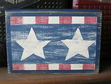 Patriotic Americana Stars Wood Block Rustic Primitive Chunky Shelf Sitter
