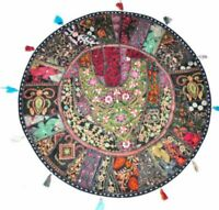 Round Black Floor Cushion Cover Pillow Cotton Indian Handmade Patchwork Ethnic
