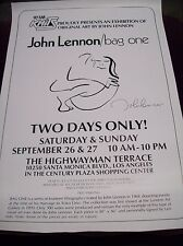 "John Lennon ""Bag One"" Art Show Poster @ Highwayman Terrace L.A. Beatles Yoko Ono"