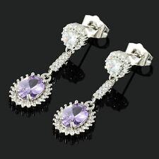 Lady 18K White Gold Plated Cubic Zirconia Oval Purple Amethyst Drop Earrings