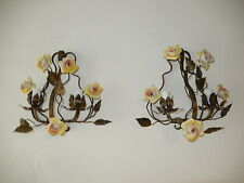 ~French Tole Porcelain Roses and Crystal Sconces, circa 1920~