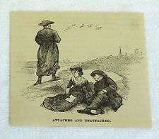 1880 small magazine engraving ~ ATTACHED AND UNATTACHED Couple on the beach