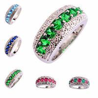 Exquisite Wedding Silver Ring Pink Topaz & Ruby & Sapphire Gemstone Jewelry Gift