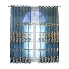 Blue Embroidery Tulle Blackout Curtain Sheer Drape Grommet Top Lace Window Decor