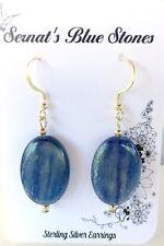 Blue Kyanite flat oval Dangle Sterling Silver Earrings .Handmade