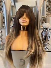 blonde human hair Lace Front wig Ombré Wig Brown Wig Bangs Wig Fringe Wig