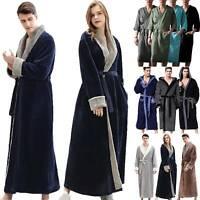 Men Women Fleece Plush Robe Bathrobe Towelling Spa Gown Kimono House Warm Coat L