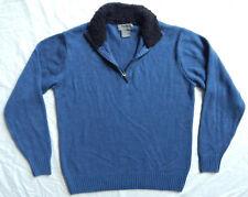 Blue Half Zip Neck Turtleneck Pullover Sweater  Medium Mens Park Slope Acrlic