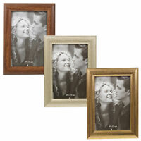 Metal/Wood Look Photo Frames Silver Gold Wall Mountable Hanging Free Standing