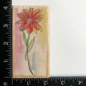 Hampton Art Watercolor Daisy 4765 Wood Mounted Rubber Stamp Flower