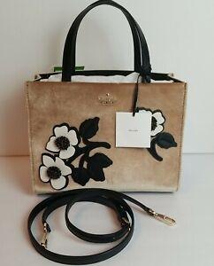 Kate Spade Cameron St Embellish Sam Crossbody Tan Black floral strap Velvet
