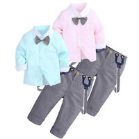 Toddler Baby Kids Boys Gentleman Formal Tops T-Shirt+Plaid Trousers Pants Outfit